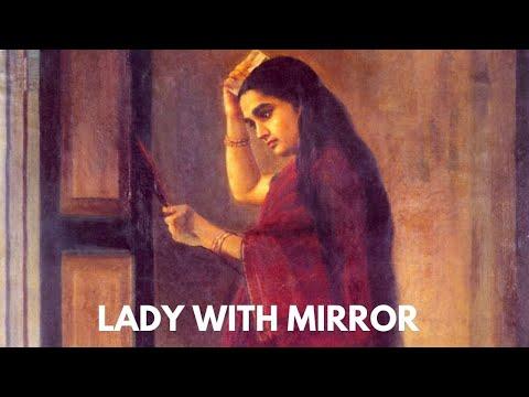 Painting Lady With Mirror Raja Ravi Varma Indian Painter