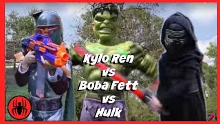 Kylo Ren vs Boba Fett vs Hulk in Real Life Superheroes | New STAR WARS 7 Fight | SuperHero Kids