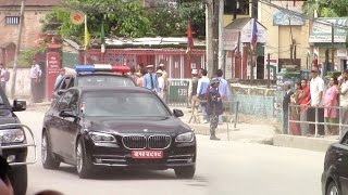 Narendra Modi drives back from Pashupatinath to his hotel in Kathmandu, Nepal