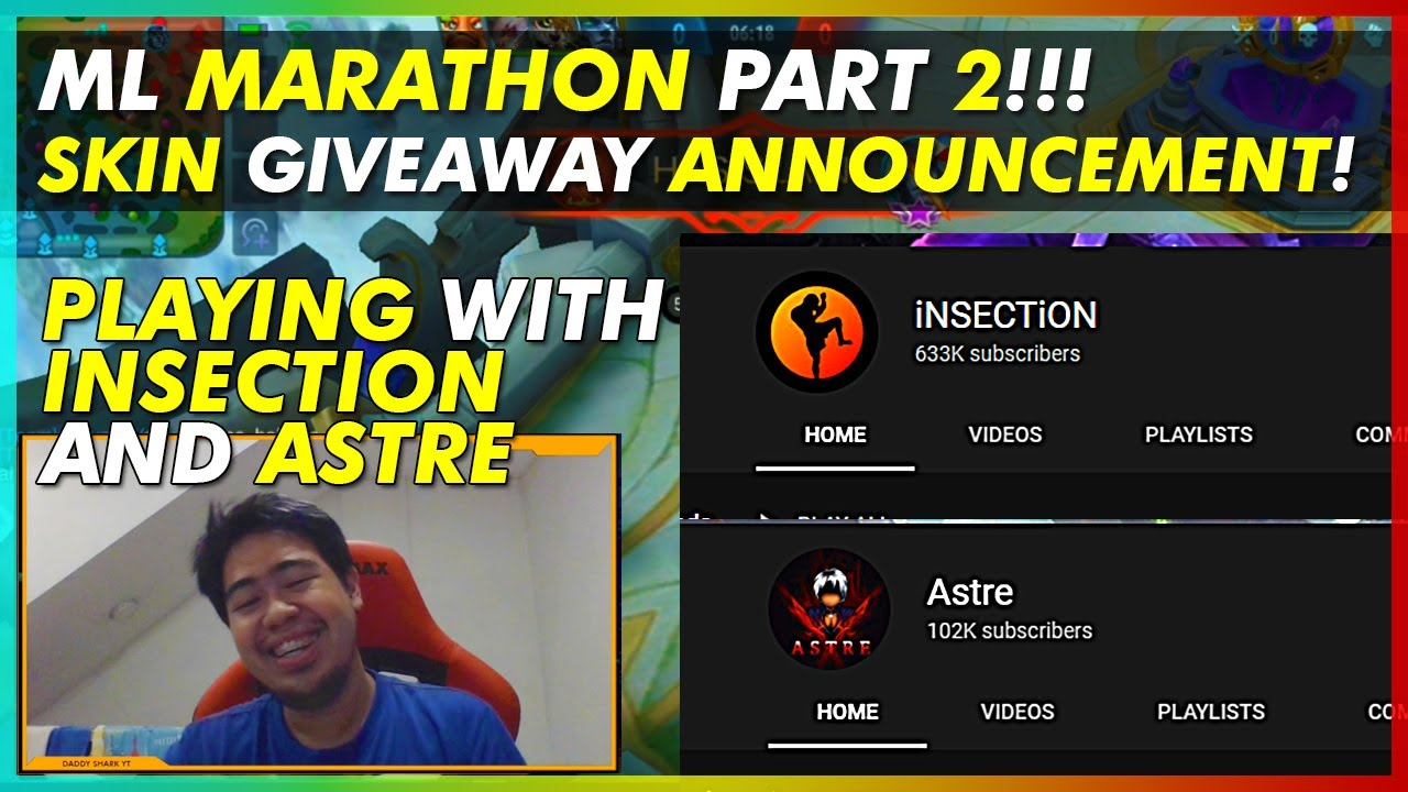 MLBB Marathon with iNSECTiON, Astre and Bronze V Part 2 | Skin Giveaway Announcement!