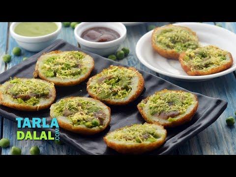 भरवां आलू टिक्की चाट - Stuffed Aloo Tikki Chaat, Delhi Roadside Snack by Tarla Dalal