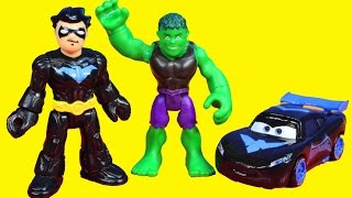 Imaginext Nightwing & DIsney Pixar Cars Lightning McQueen Save Hulk From Gorilla Grodd Clay Face
