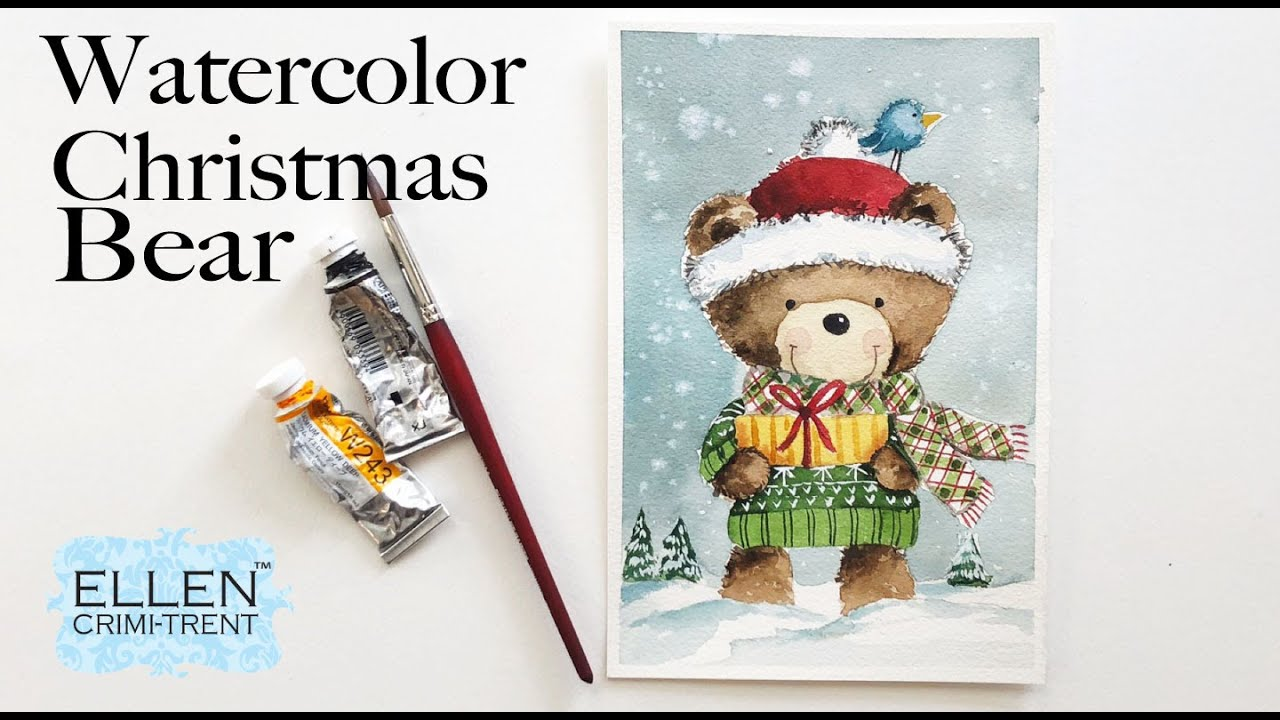 Watercolor  Christmas Bear