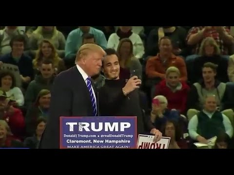 Donald Trump Selfie during rally Claremont New Hampshire Rally FULL 1 ...