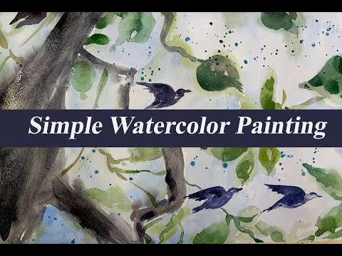 Simple painting of Landscape with watercolor | Watercolor for beginners