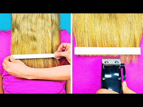 23 WAYS TO CUT HAIR LIKE A PRO    HAIR HACKS AND TIPS