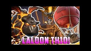 CLASH OF CLANS: LALO (Lava Loon) TH10 3* attack against maxed TH10 with low level heroes