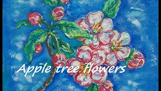 /acrylic painting techniques for beginners /Apple tree flowers/ рисовать акрилом