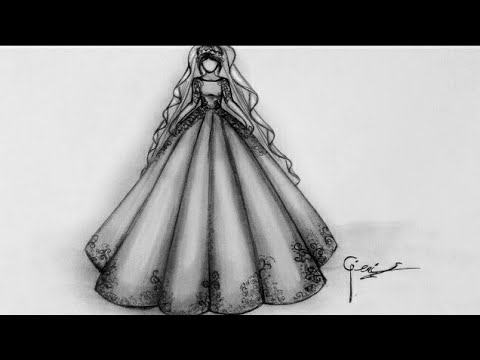 Basit Gelinlik çizimi Simple Wedding Dress Drawing Youtube