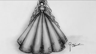 Basit Gelinlik çizimi  Simple Wedding Dress Drawing
