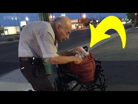 Todos ignoran a este anciano que se sienta en la calle cada noche, hasta que alguien descubre porqué