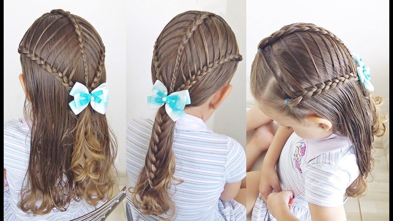 fafde8e50d Penteado Infantil com ligas e tranças semi cascata para cabelo solto ou com  amarração