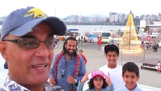 جسر النافوره في كوريا مع أسره عربيه