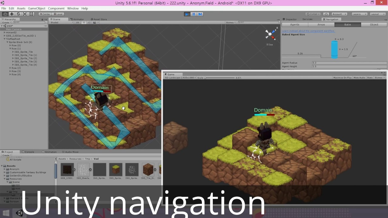 Isometric 2d sprite tile with Unity navigation