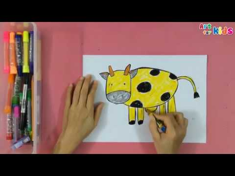 Painting animals for kids | How to draw a cow | Art for kids