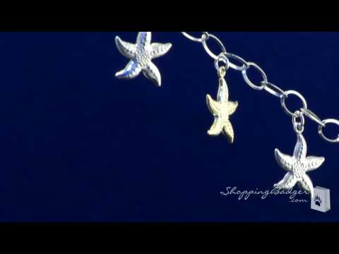 Sterling Silver And 14K Gold Starfish Bracelet