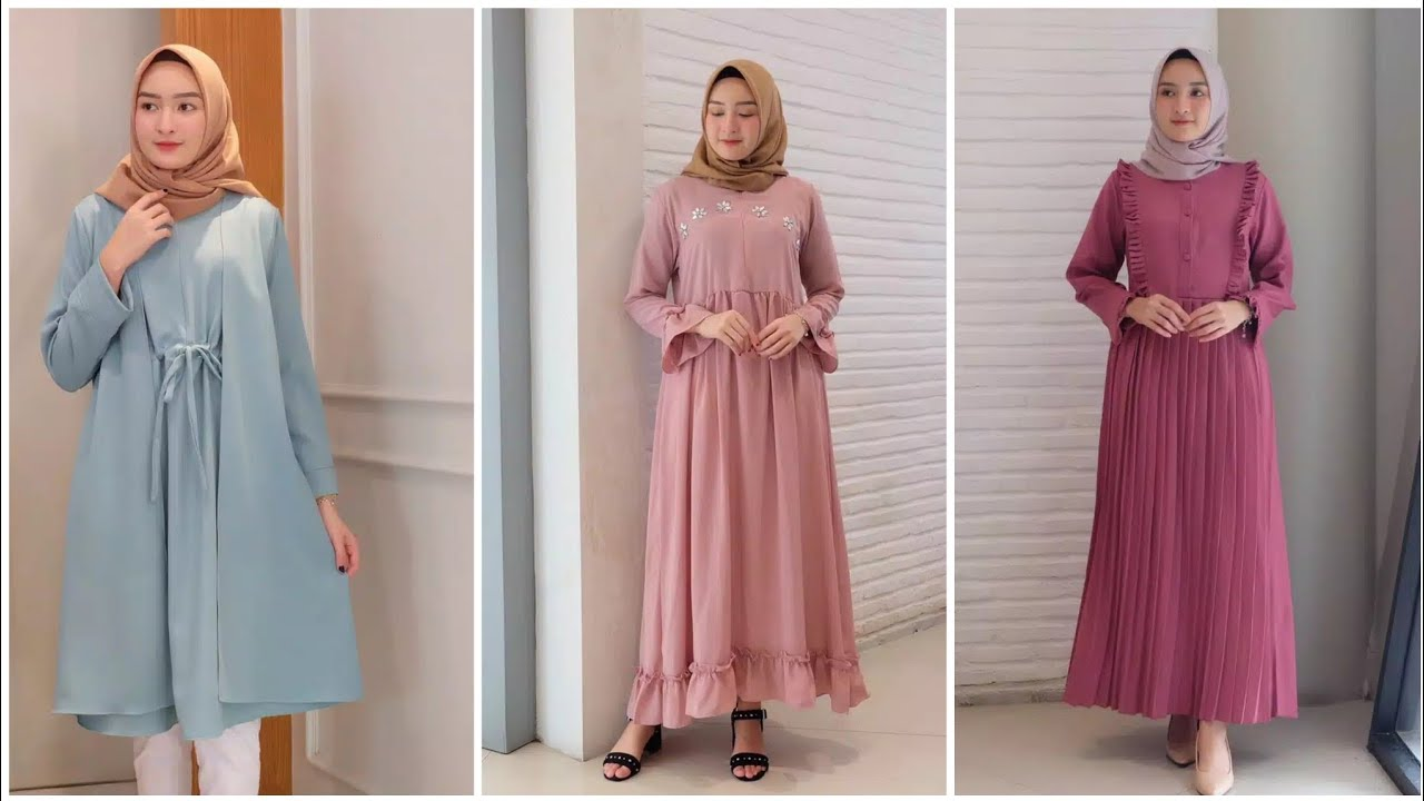11 Model Gamis Remaja Simple Terbaru - YouTube