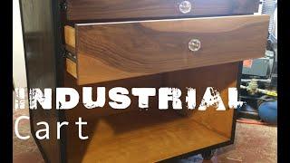 Industrial Walnut Console Cart