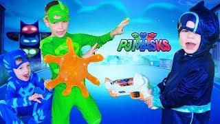 PJ Masks Night Ninja STICKY SPLATS GEKKO! Catboy Saves Gekko Funny Ninjalino!