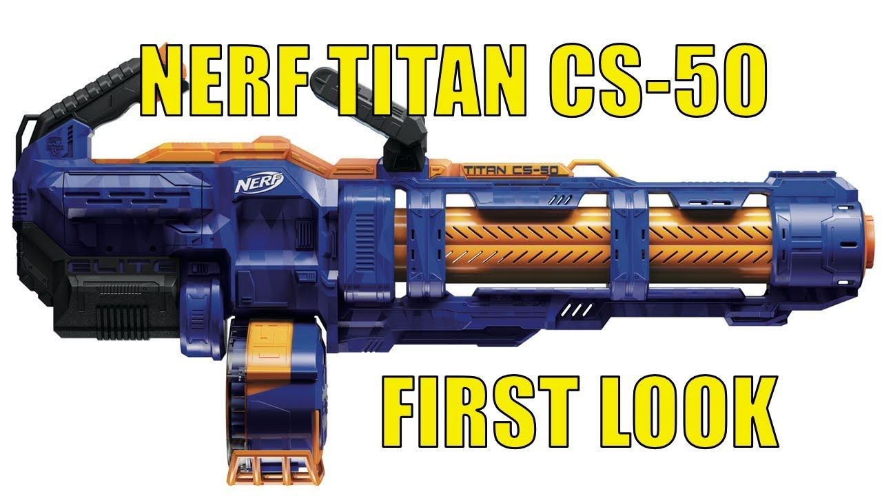 Teens Fully Motorized NERF Elite Titan CS-50 Toy Blaster for Kids 50-Dart Drum Spinning Barrel Adults 50 Official Elite Darts