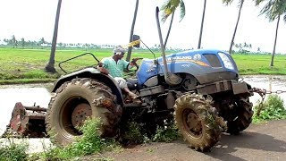 "CRAZY ""New Holland"" 4710 W4 Tractor Puddling with Rotavator! NEW HOLLAND Tractors For Kids"