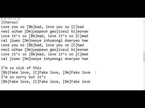 Guitar Tabchord Romanized Lyrics Fake Love Bts Youtube