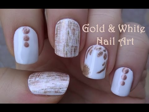 Gold White Nail Art Dry Brush Fl Nails Design