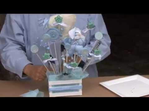 Como hacer un centro de mesa para baby shower con caramelo - Hacer mesa dulce bautizo ...