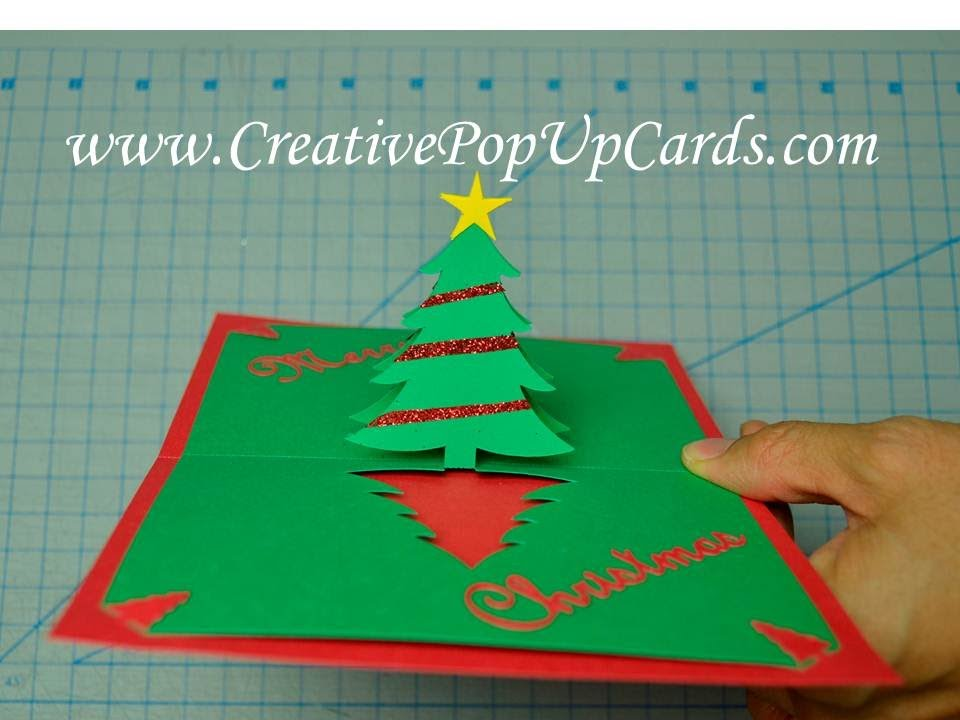 easy christmas tree pop up card tutorial youtube - Christmas Tree Card