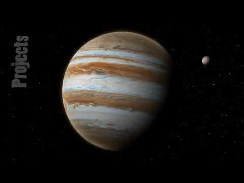 Realistic planet Jupiter with Europa from deep space