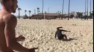 Woman Soccer Player Shoots Bicycle-Kick Goal on Beach - 1019699-1