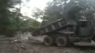 Dump truck wheelie