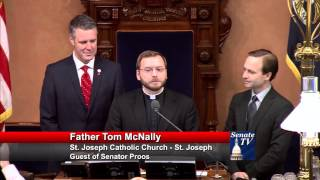 Sen. Proos welcomes Father McNally to deliver invocation to the Senate