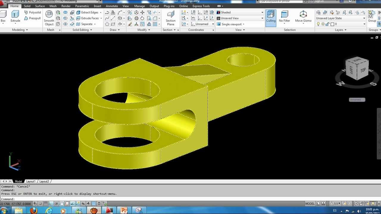 Como hacer una Pieza Mecanica en 3D Autocad 2012 Parte 3  YouTube