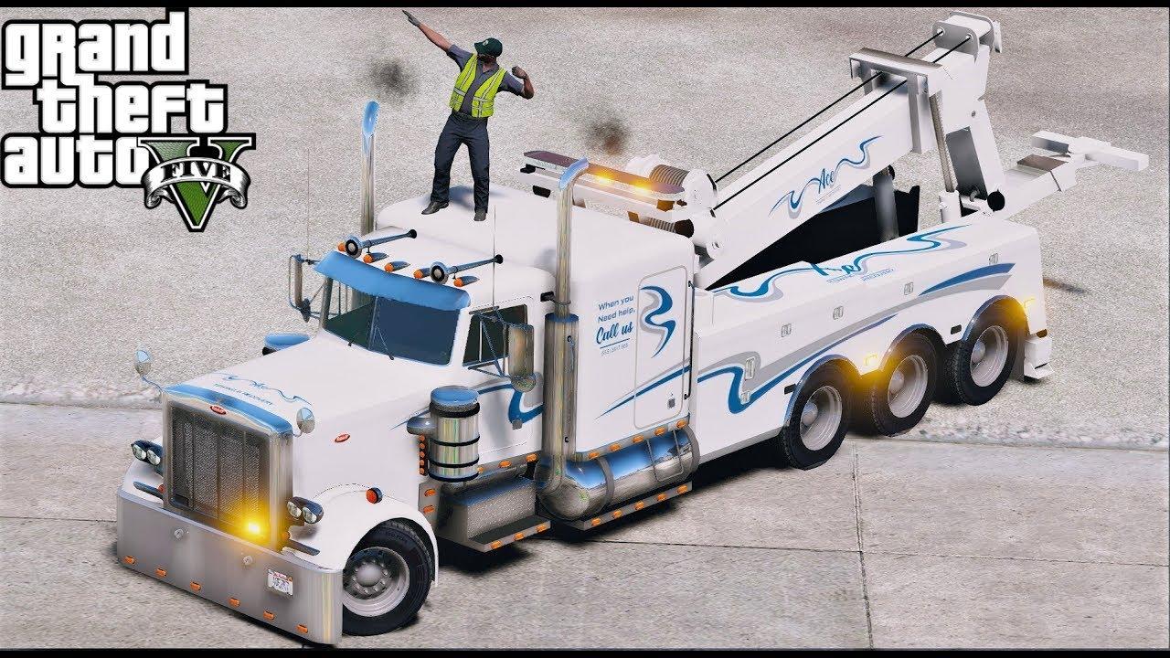 GTA 5 Real Life Mod #132 New Peterbilt 388 Heavy Duty Tow Truck Wrecker