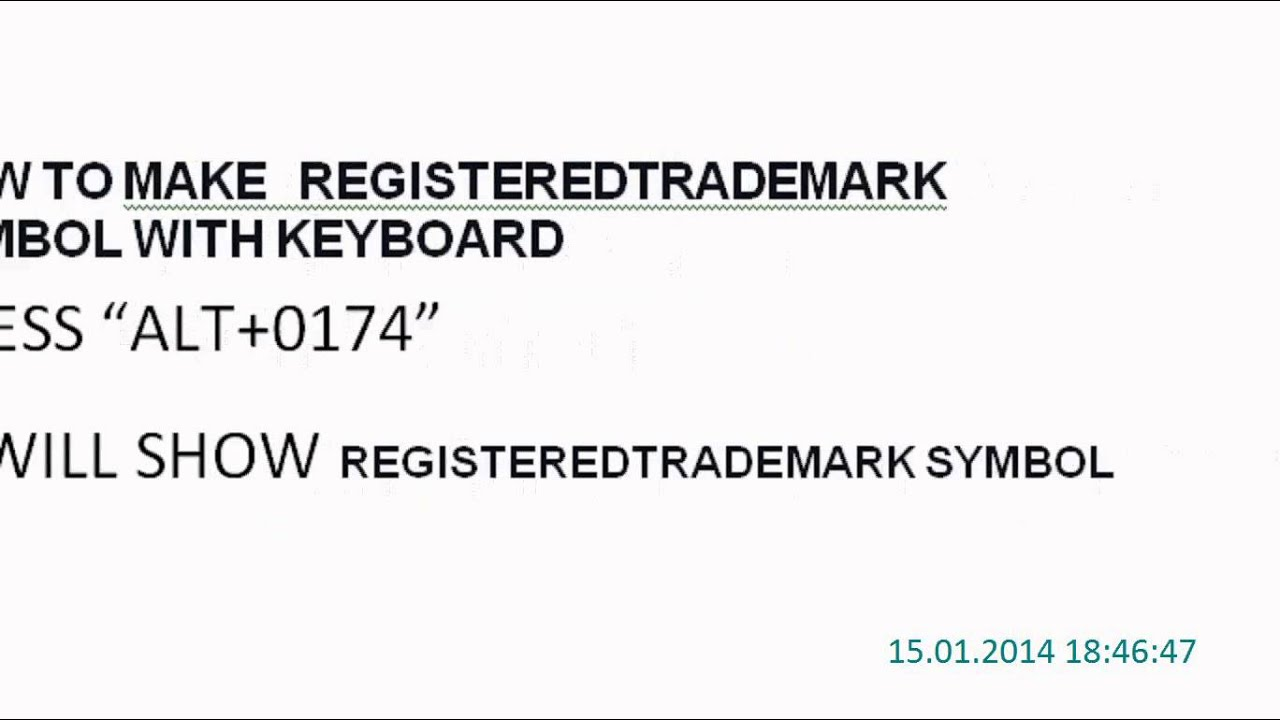 How To Make Registered Trademark Symbol With Keyboard Youtube