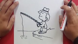 Como dibujar un pescador paso a paso | How to draw a fisherman