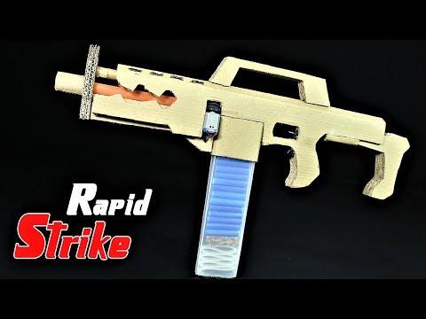 How To Make A Rapidstrike Nerf War Cardboard Gun That SH00TS