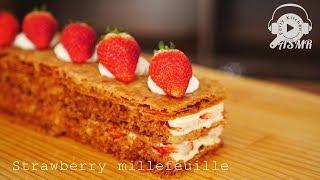 【ASMR・NoBGM】いちごミルフィーユの作り方 ~ Strawberry Mille-Feuille【料理レシピはParty Kitchen🎉】