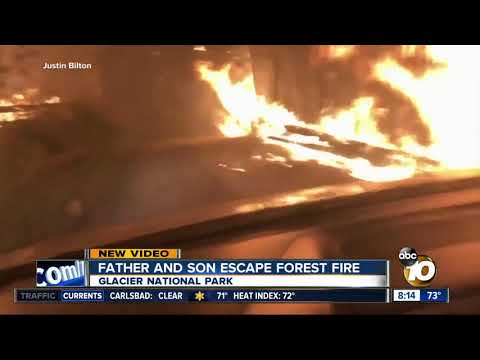 Father and Son escape fix forest fire, Glacier National Park Montana