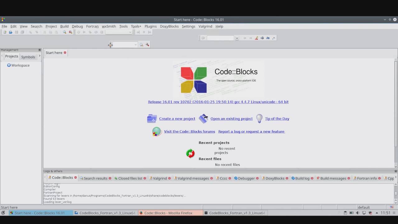 Code::Blocks IDE for Fortran: First steps (Linux)