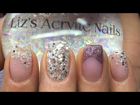 Acrylic Nails | Pink And Silver Glitter