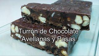 Turrón de Chocolate Avellanas y Pasas