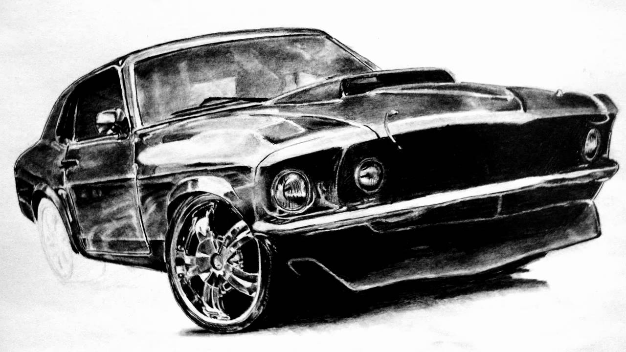 ford mustang drawing graphite pencil juho234 youtube. Black Bedroom Furniture Sets. Home Design Ideas