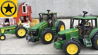 BRUDER TOYS JOHN DEERE heavy gear UNLOADING in BWORLD Farm