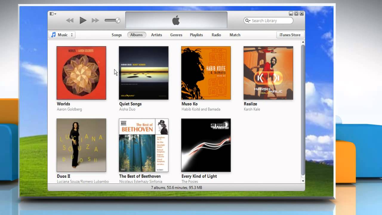 How to show and hide menu bar in iTunes® in Windows® XP