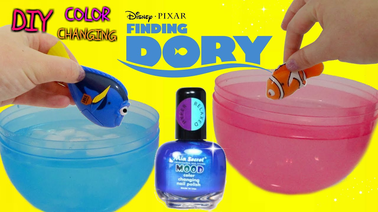 diy finding dory color change nail polish kids craft - youtube