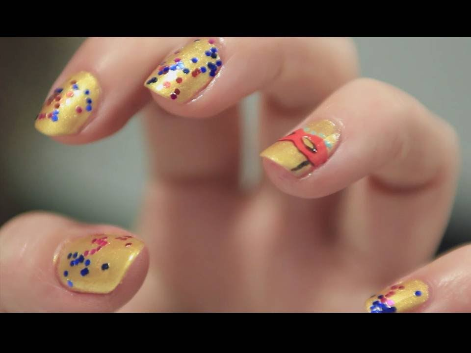 Manicura Especial Carnaval Antifaz Y Glitter Nail Art Youtube