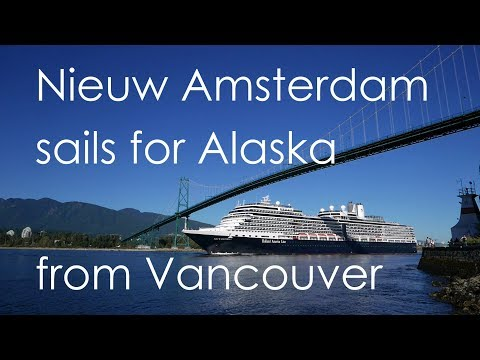 "Holland America ""Nieuw Amsterdam"" sails for Alaska from Vancouver under Lions Gate Bridge"