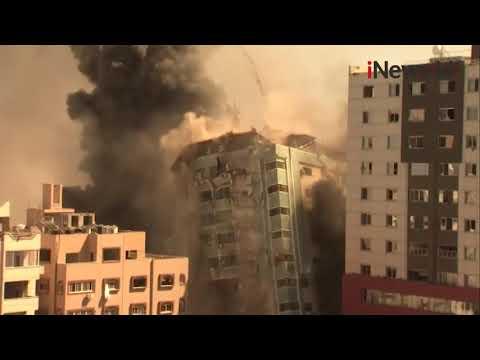 Rudal Israel Menghancurkan Gedung Penampung Media Internasional